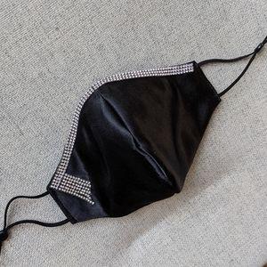 Chic Black Shantung Silk Face Mask Crystal